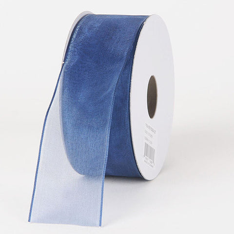 Organza Ribbon Thin Wire Edge 25 Yards Smoke Blue ( W: 5/8 inch | L: 25 Yards )