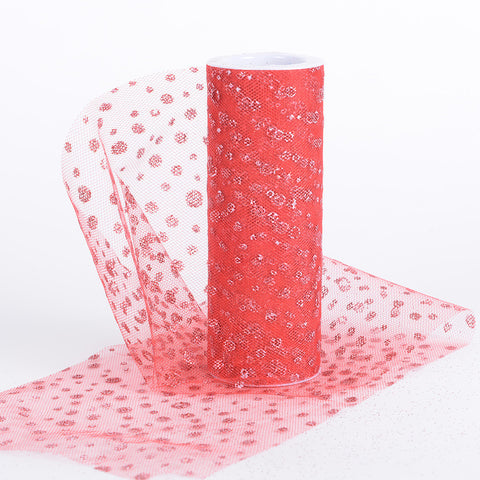 6 Inch x 10 Yards Sparkle Dot Tulle Red ( W: 6 inch | L: 10 yards ) - Ribbons Cheap