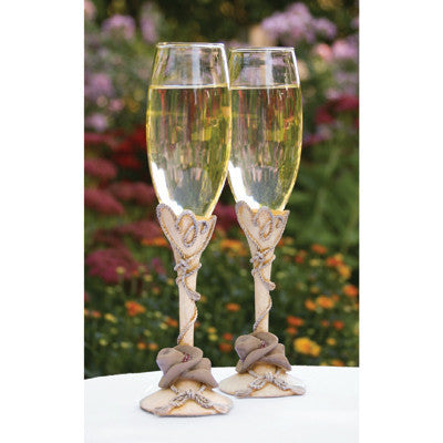 Wedding Toasting Flute Country Flair Flutes ( Set of 2 ) -