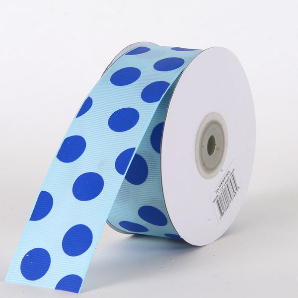 Grosgrain Ribbon Jumbo Dots Light Blue with Royal Dots ( W: 1-1/2 inch | L: 25 Yards )