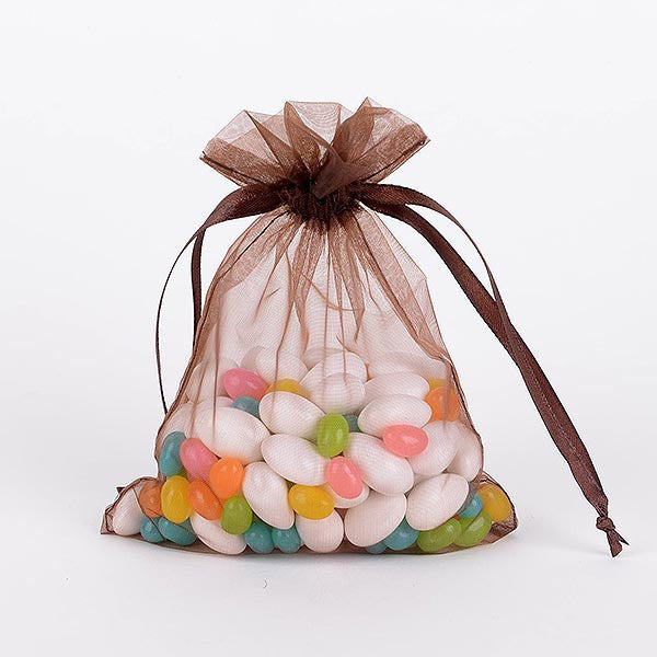 Organza Bags Chocolate Brown ( 3x4 Inch - 10 Bags )