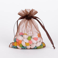 Organza Bags Chocolate Brown ( 4x5 Inch - 10 Bags )