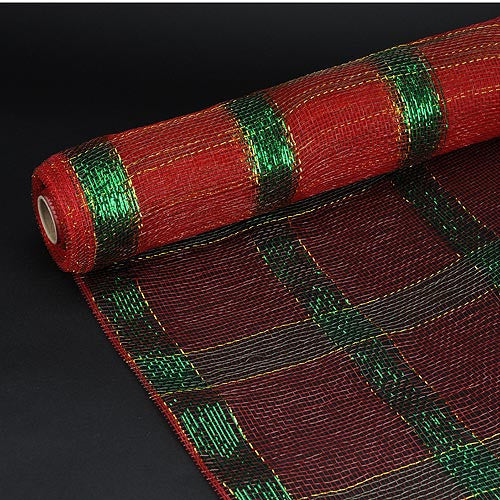 Poly Deco Xmas Check Mesh Metallic Stripe Red with Green ( 21 Inch x 10 Yards )
