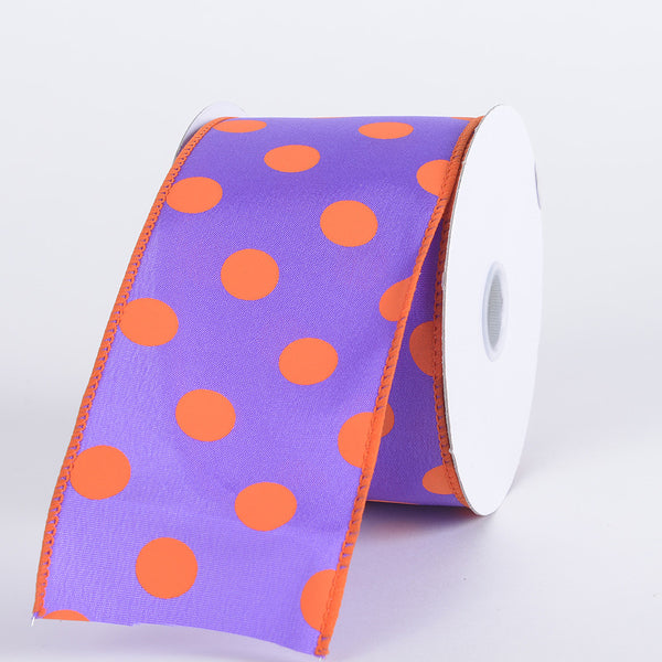 Satin Polka Dot Ribbon Wired Purple with Orange Dots ( W: 2-1/2 inch | L: 10 Yards )
