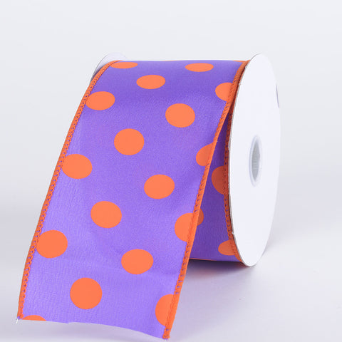 Satin Polka Dot Ribbon Wired Purple with Orange Dots ( W: 2-1/2 inch | L: 10 Yards ) -