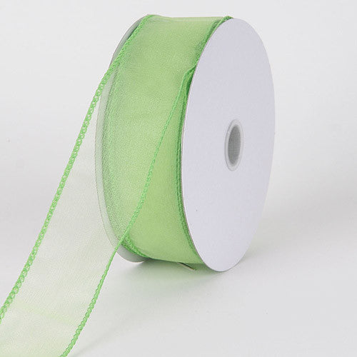 Organza Ribbon Thick Wire Edge 25 Yards Mint ( W: 1-1/2 inch | L: 25 Yards )