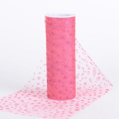 6 Inch x 10 Yards Sparkle Dot Tulle Coral ( W: 6 inch | L: 10 yards )