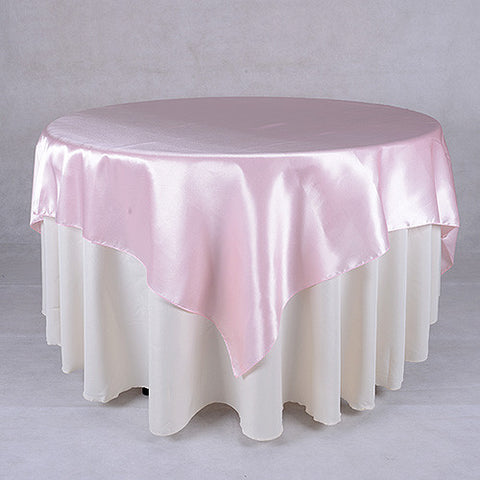 Light Pink  72 x 72 Satin Table Overlays  ( 72 x 72 Inch )