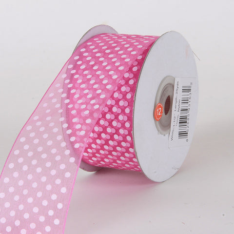Organza Swiss Dots Ribbon Hot Pink ( W: 3/8 inch | L: 25 Yards ) -