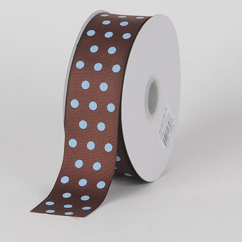 Grosgrain Ribbon Color Dots Chocolate with Blue Dots ( W: 5/8 inch | L: 25 Yards ) -