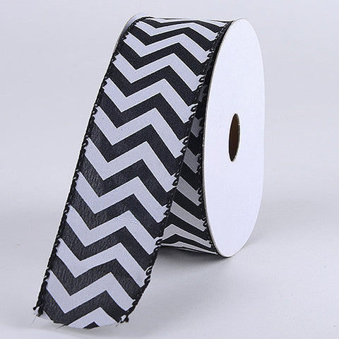 Chevron Canvas Wired Edge Black ( W: 1-1/2 inch | L: 10 Yards ) -