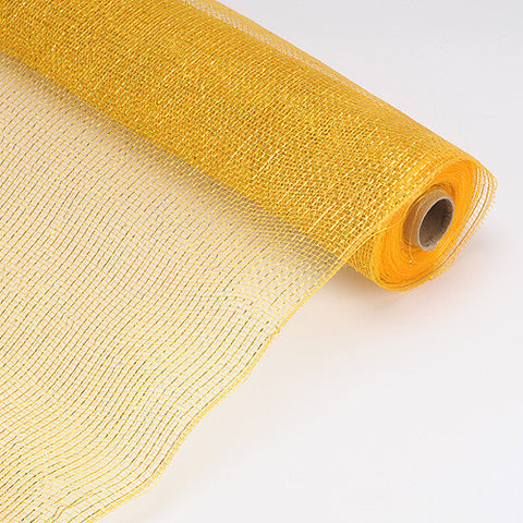 Laser Metallic Floral Deco Mesh Wrap Gold ( 21 Inch x 10 Yards ) -