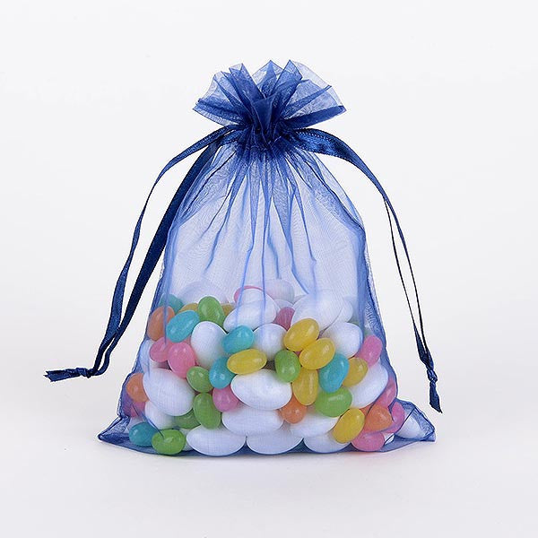Organza Bags Navy Blue ( 3x4 Inch - 10 Bags )