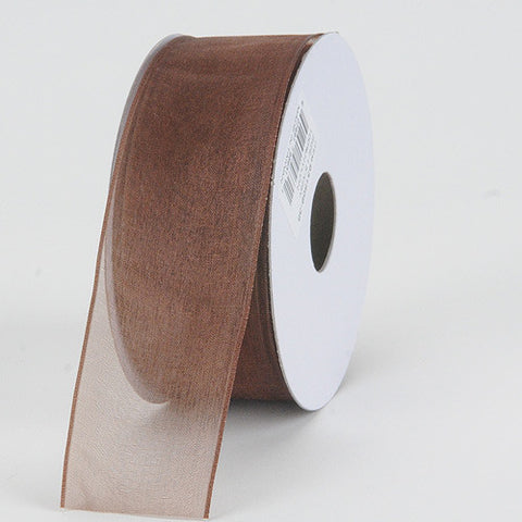 Organza Ribbon Thin Wire Edge 25 Yards Chocolate Brown ( 2-1/2 inch | 25 Yards )