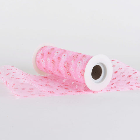 "6"" Organza Flower Roll Light Pink ( 6 inch 