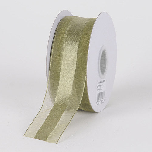 Organza Ribbon Satin Center Old Willow ( W: 5/8 inch | L: 25 Yards )