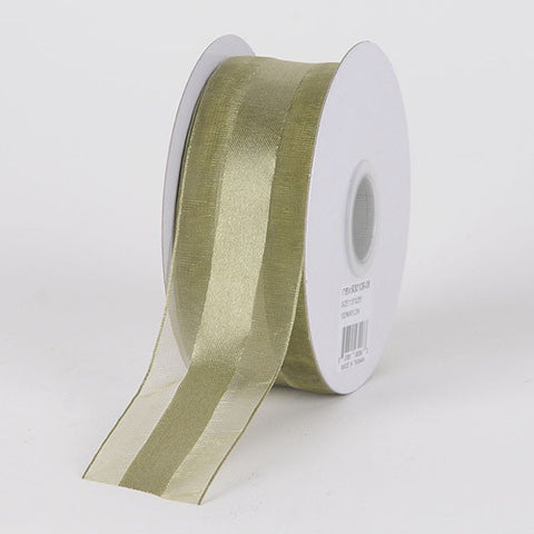 Organza Ribbon Satin Center Old Willow ( W: 5/8 inch | L: 25 Yards ) -