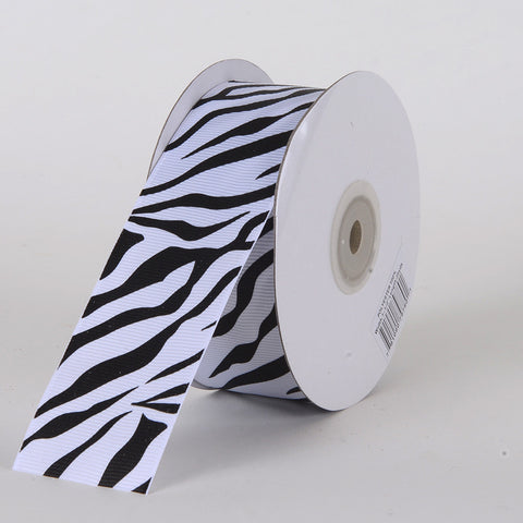 Grosgrain Ribbon Animal Print Black ( W: 5/8 inch | L: 25 Yards )