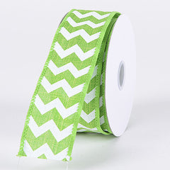 Chevron Canvas Wired Edge Lime ( 2-1/2 inch | 10 Yards )