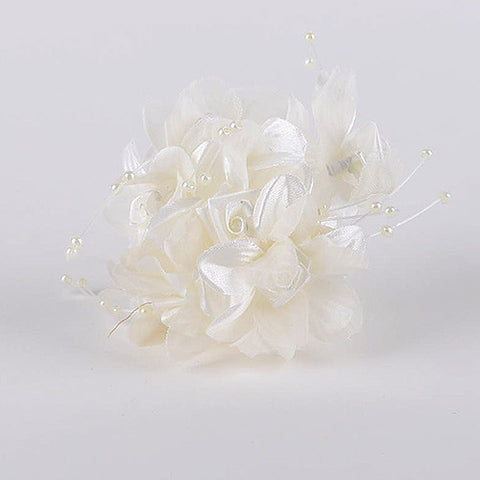 Satin Flowers with Pearl Beads (6x12) Ivory ( 12 Mini Flowers )