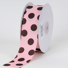 Grosgrain Ribbon Jumbo Dots Pink with Brown Dots ( W: 1-1/2 inch | L: 25 Yards )