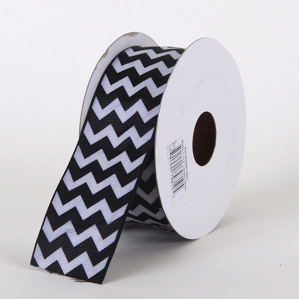 Grosgrain Chevron Ribbon Black ( W: 5/8 inch | L: 10 Yards )