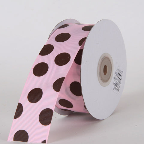 Grosgrain Ribbon Jumbo Dots Pink with Chocolate Dots ( W: 1-1/2 inch | L: 25 Yards ) -
