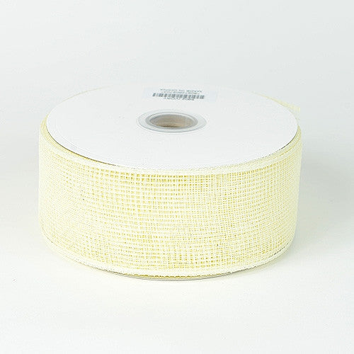 Floral Mesh Ribbon Ivory ( 4 Inch x 25 Yards )