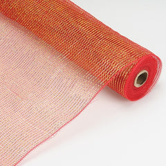 Laser Metallic Floral Deco Mesh Wrap Red ( 21 Inch x 10 Yards )