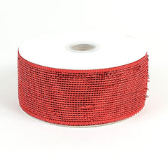 Metallic Deco Mesh Ribbons Red ( 2.5 inch x 25 yards )