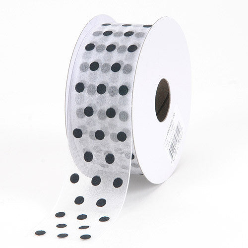 Organza Polka Dot Ribbon White with Black Dot ( W: 3/8 inch | L: 25 Yards )