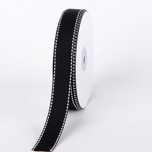 Grosgrain Ribbon Stitch Design Black ( W: 3/8 inch | L: 25 Yards )