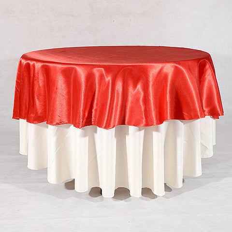 Red  90 Inch Satin Round Tablecloths