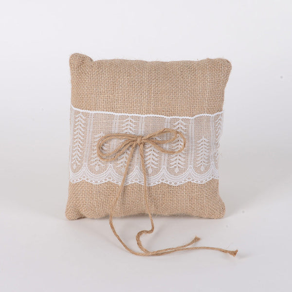 Ring Bearer Pillow Burlap ( 7 x 7 inches )