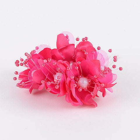 Organza Flowers with Pearl Beads (6x12) Fuchsia ( 12 Mini Flowers )