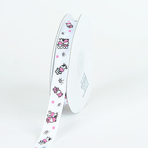 Grosgrain Ribbon MooMoo Cow Print White ( 7/8 inch | 25 Yards )