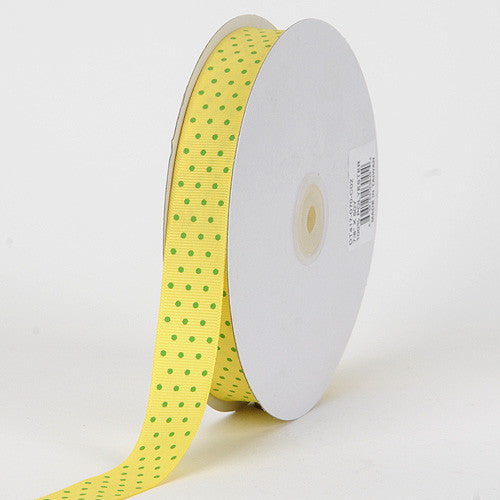 Grosgrain Ribbon Swiss Dot Canary with Apple Dots ( W: 3/8 inch | L: 50 Yards )