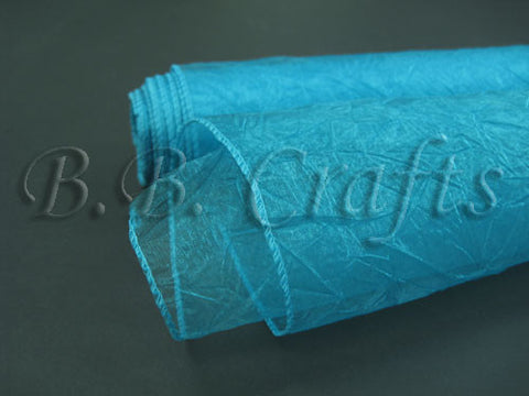 Turquoise  Premium Crinkle Organza Overlays  ( W: 24 inch | L: 10 Yards )