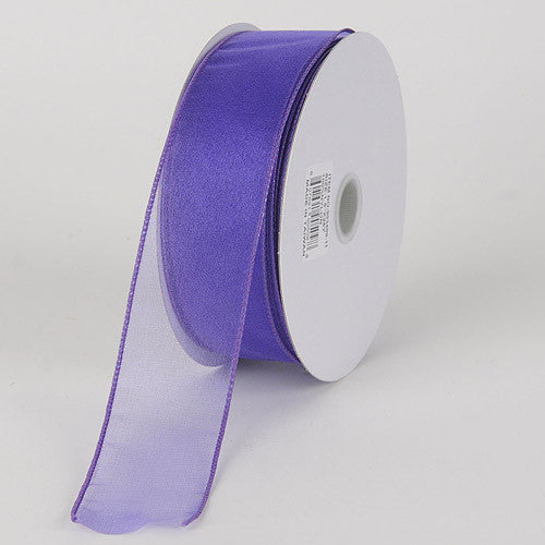 Organza Ribbon Thick Wire Edge 25 Yards Purple Haze ( W: 1-1/2 inch | L: 25 Yards )
