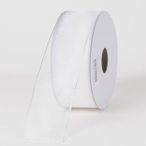 Organza Ribbon Thin Wire Edge 25 Yards White ( 1-1/2 inch | 25 Yards )