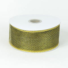 Floral Mesh Ribbon Black Gold ( 4 Inch x 25 Yards )