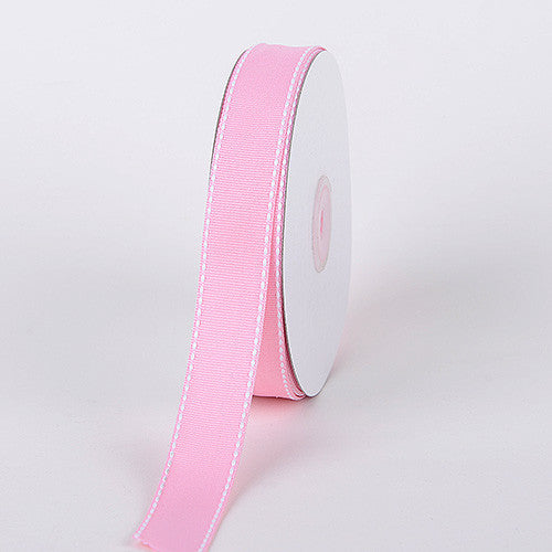 Grosgrain Ribbon Stitch Design Pink ( W: 3/8 inch | L: 25 Yards )