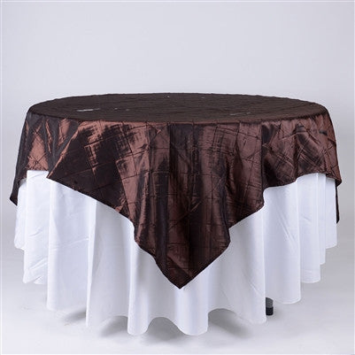 Chocolate Brown  72 inch x 72 inch Square Pintuck Satin Overlay