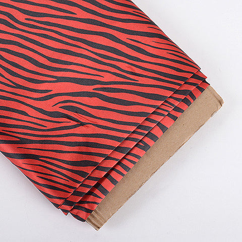 Animal Printed Satin Fabrics Red ( W: 58 inch | L: 10 Yards ) - Ribbons Cheap