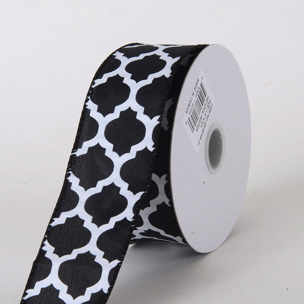 Satin Ribbon Large Quatrefoil Print Black ( W: 1-1/2 inch | L: 10 Yards )