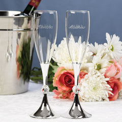 Wedding Toasting Flute Crystal Ball Flutes ( Set of 2 )