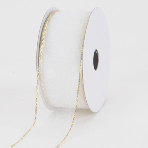 Organza Ribbon Thin Wire Edge 25 Yards White With Gold Edge ( 2-1/2 inch | 25 Yards )