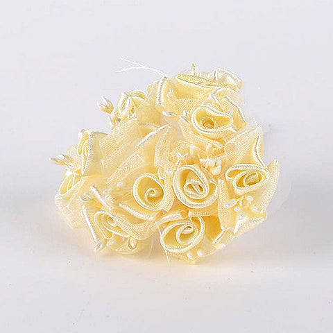 Organza and Satin Flowers (10x12) Yellow ( 12 Mini Flowers )