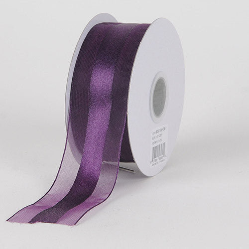 Organza Ribbon Satin Center Eggplant ( W: 5/8 inch | L: 25 Yards )