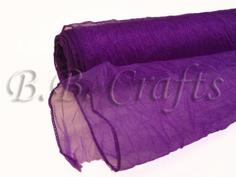 Purple  Premium Crinkle Organza Overlays  ( W: 24 inch | L: 10 Yards )- Ribbons Cheap